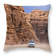 Four Wheel Drive Vehicles At Wadi Rum Jordan Throw Pillow