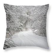 Four Wheel Winter Throw Pillow