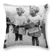 Four Young Children Singing Throw Pillow