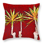 Four Yuccas In Red Throw Pillow