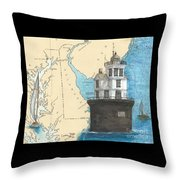 Fourteen Ft Bank Lighthouse De Nautical Chart Map Art Throw Pillow