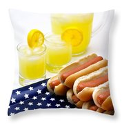 Fourth Of July Hot Dogs And Lemonade Throw Pillow by Amy Cicconi