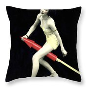 Fourth Of July Rocket Girl Throw Pillow by Underwood Archives