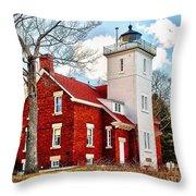 Fourty Mile Point Lighthouse Throw Pillow