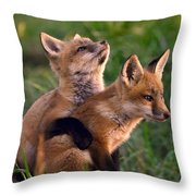 Fox Cub Buddies Throw Pillow by William Jobes