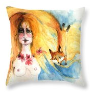 Fox Girl Throw Pillow