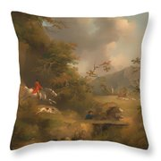 Fox Hunting In Hilly Country Throw Pillow