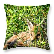 Red Fox Pup Hiding Throw Pillow