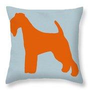 Fox Terrier Orange Throw Pillow by Naxart Studio