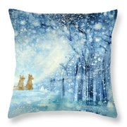 Foxes In The Snow Throw Pillow