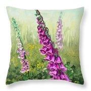 Foxglove Flower Throw Pillow