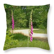 Foxgloves In New Forest Throw Pillow