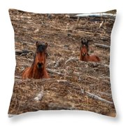 Foxhole Mustangs Throw Pillow