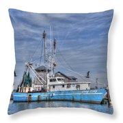 Shrimp Boat At Port Throw Pillow