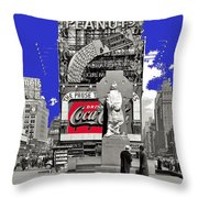 Fr. Duffy Statue Prior To Unveiling Coca Cola Sign Times Square New York City 1937-2014 Throw Pillow