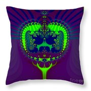 Fractal 25 Emerald Crown Jewels Throw Pillow