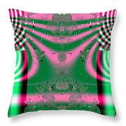 Fractal 34 Kimono In Pink And Green Throw Pillow