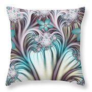 Fractal Abstract Fantasy Flower Garden 2 Throw Pillow