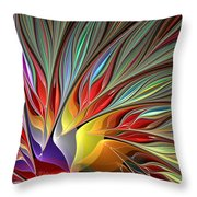 Fractal Bird Of Paradise Redux Throw Pillow