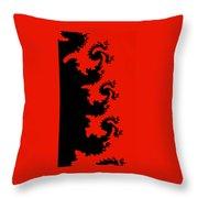 Fractal Black Dragons Throw Pillow