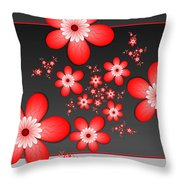 Fractal Cheerful Red Flowers Throw Pillow