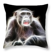 Fractal Chimp Throw Pillow