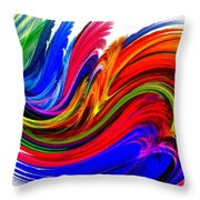 Fractal Colors On White Throw Pillow