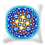 Fractal Escheresque Winter Mandala 9 Throw Pillow