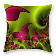 Fractal Fluorescent Fantasy Flowers Throw Pillow