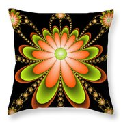 Fractal Floral Decorations Throw Pillow