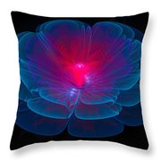 Fractal Flower Blue And Red Throw Pillow