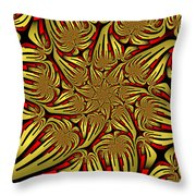 Fractal Golden And Red Throw Pillow