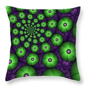Fractal Green Shapes Throw Pillow