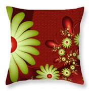 Fractal Happy Flowers 2 Throw Pillow