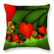 Fractal Hearts In The Discothec Throw Pillow