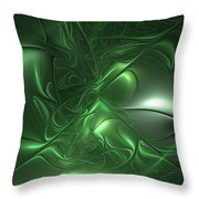 Fractal Living Green Metal Throw Pillow
