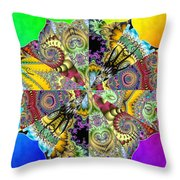 Fractal Lotus Zodiac Throw Pillow