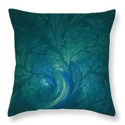 Fractal Marine Blue Throw Pillow