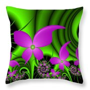 Fractal Neon Fantasy Throw Pillow