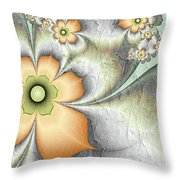 Fractal Nostalgic Flowers Throw Pillow
