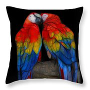 Fractal Parrots Throw Pillow