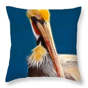 Fractal Pelican Throw Pillow