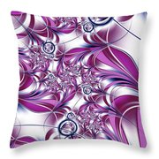 Fractal Pink Plant Throw Pillow