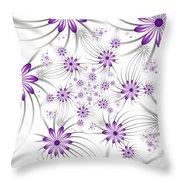 Fractal Purple Flowers Throw Pillow