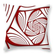 Fractal Red And White Throw Pillow