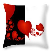 Fractal Red Hearts Throw Pillow