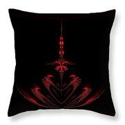 Fractal Red Throw Pillow