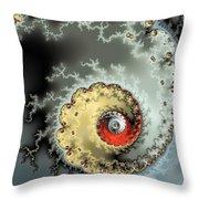 Fractal Spiral Design Grey Khaki Red Throw Pillow