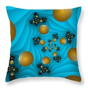 Fractal The Blue Depth Throw Pillow