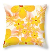 Fractal Yellow Flowers Throw Pillow